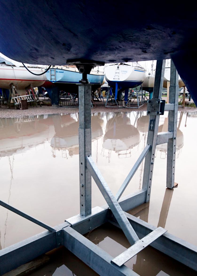 Stævnstøtte til mobile bådstativer